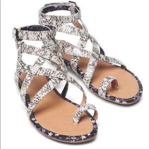 Cabi Athena snake & floral gladiator wrap sandals